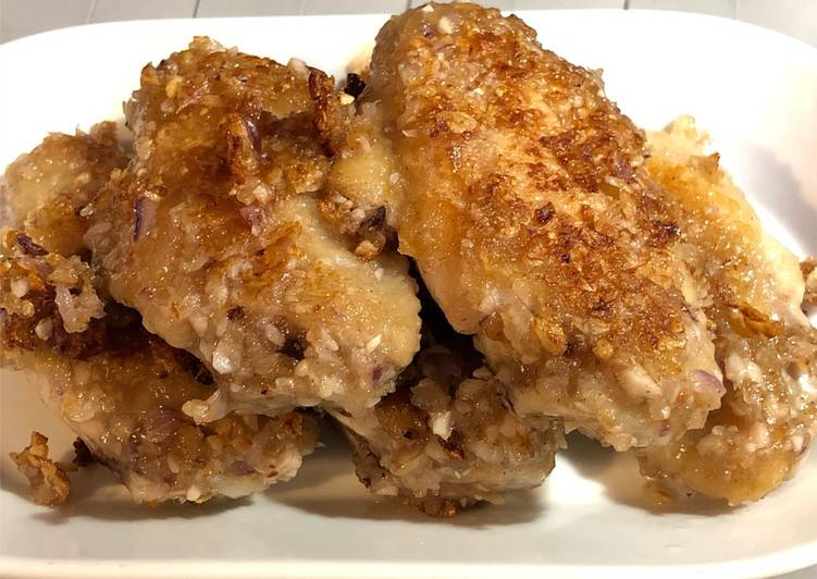 Recipe: Appetizing Pan fried Chicken wing with garlics favour 蒜香雞翼