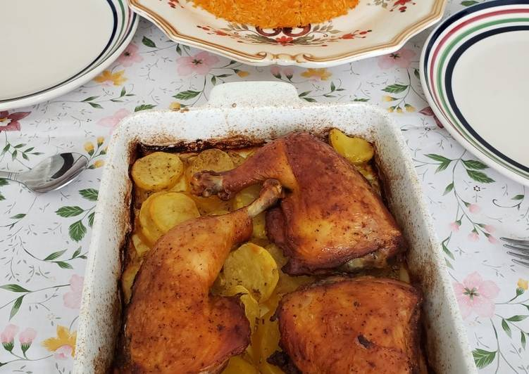 Recipe: Tasty Red rice with chicken legs and potatoes